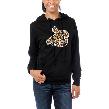 Crooks and Castles Girls Air Gun Leopard Black Pullover Hoodie