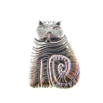 Laurel Burch Shambala Cat Pin from 1980s