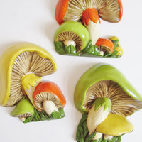 Vintage 1970's Ceramic Set of 3 Retro Kitsch Mushroom Wall Decor
