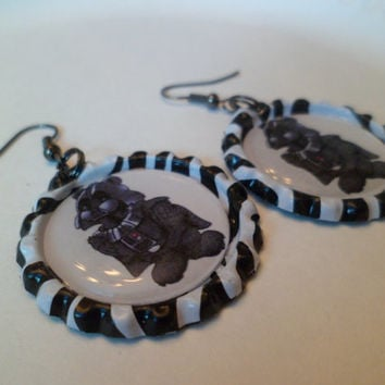 Darth Vader Care Bear bottle cap earrings