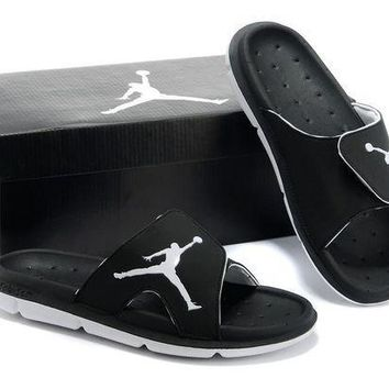 PEAPGE2 Beauty Ticks Nike Air Jordan Black/white Casual Sandals Slipper Shoes Size Us 7-13