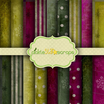 Shabby Christmas Vol1 - 18 Digital Scrapbook Papers - 12x12inch - Printable Backgrounds - Christmas Patterns - INSTANT DOWNLOAD