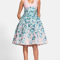 Women's Lela Rose Flower Jacquard A-Line Dress,