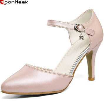 MoonMeek big size 33-44 fashion new arrival women pumps pointed toe buckle ladies prom shoes pink sweet high heels shoes