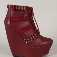 Qupid Vela-03 Lace Up Platform Wedge Bootie
