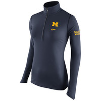 Ladies Outerwear Nike University of Michigan Ladies Navy Tailgate Element Dri-FIT 1/2 Zip Top