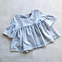 ruffled sleeves babydoll denim top