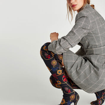 OVER THE KNEE HIGH HEEL BOOTS WITH PRINTED FABRIC DETAILS