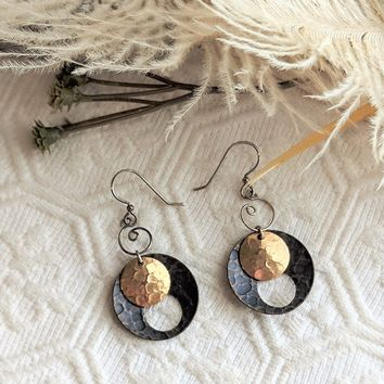 Artisan Crafted Sterling Silver Antiqued Brass Hammered Disc Dangle Earrings