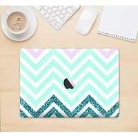 "The Light Teal & Purple Sharp Glitter Print Chevron Skin Kit for the 12"" Apple MacBook"