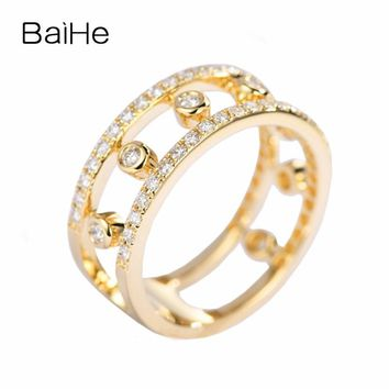 BAIHE Solid 14K Yellow Gold (AU585) F-G/SI About 0.50ct 100% Genuine Natural Diamonds Engagement Cute/Romantic Fashion Gift Ring