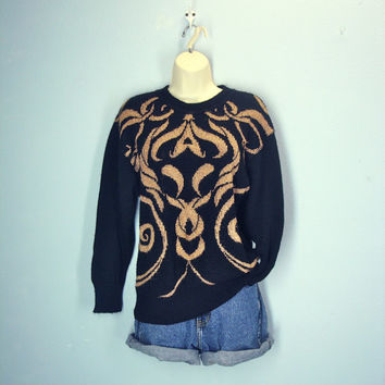 Vintage 80s Black Gold Sweater / Sparkle Abstract 1980s Sweater /