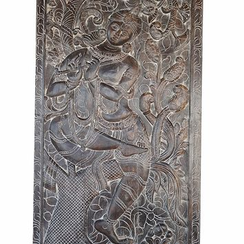 Yoga Studio Door Panel Hand Carved Vintage Fluting Krishna under Kadambari Wall Decor Sculpture , Panel, Barn Door
