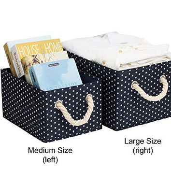 StorageWorks Polyester Storage Box with Strong Cotton Rope Handle, Foldable Basket Organizer Bin, Deep Blue, White Dot Style, Medium, 3-Pack