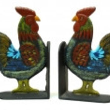 Cast Iron Rooster Bookends Set