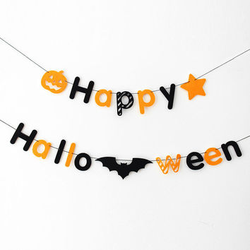 200cm/pcs holloween banner fabric Happy Halloween Skull garland photo background decorative photo props HalloweenParty