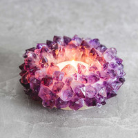 Amethyst Lotus Candle Holder
