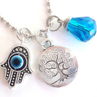Tree of Life Necklace Hamsa Good Luck Yoga Jewelry Evil Eye Protection Om Zen Namaste Earthy Unique Gift Under 50 Item T12