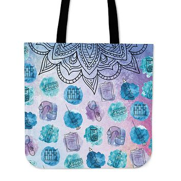 Watercolor Medical Set Linen Tote Bag