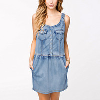 Blue Single-Breasted Denim Dress