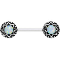 White Synthetic Opal Lotus Flower Nipple Barbell 14 Gauge 5/8"