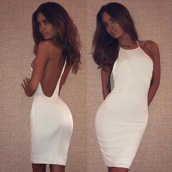 Hot backless white halter straps Slim dress simple white dress super sexy dress discount = 1753493316