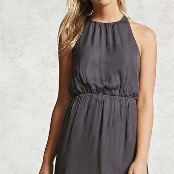 Satin Keyhole Tank Dress
