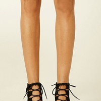 Lace-Up Faux Suede Cutout Heels
