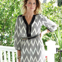Dotted Chevron Dress