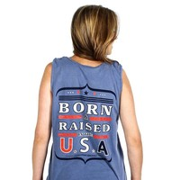 Born and Raised Tank in Blue Jean by Jadelynn Brooke
