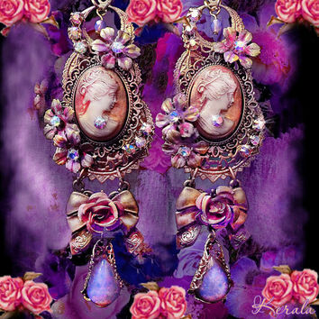 Peach Roses and Bows Victorian Cameo Earrings- Large Statement Earrings, Pretty and Feminine, Antique Bridal Fire Opal