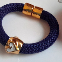Navy Poly Braided Cord Bracelet with Gold and White Geart and Gold Magnetic Clasp