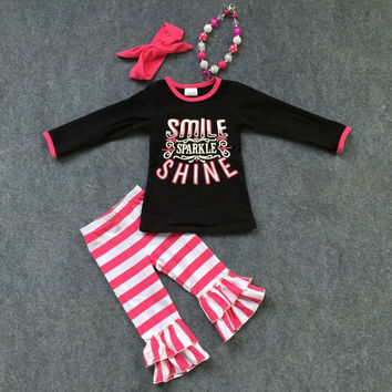 Preorder -smile sparkle and shine pink striped pant set