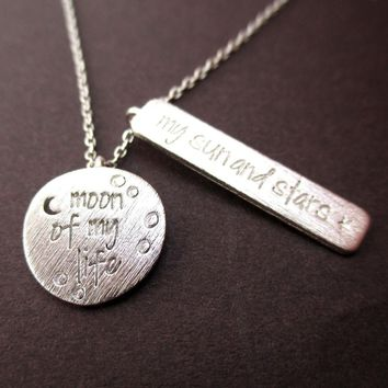 Moon of my Life, My Sun and Stars Game of Thrones Quote Charm Necklace in Silver | DOTOLY