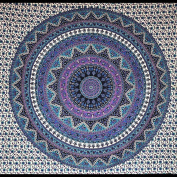 Twin Indian Mandala Tapestry Hippie Hippy Wall Hanging Throw Bedspread Dorm tapestry bohemian tapestry wall deocr india bedspread