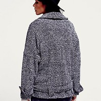 Free People Womens Slouchy Textured Wool Coat