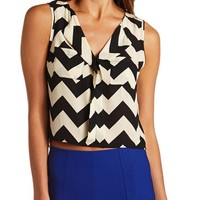 Sheer Chiffon Chevron Crop Top
