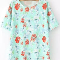 Green Short Sleeve Floral T-Shirt