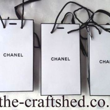 Genuine *3x CHANEL GIFT BAGS with CHANEL RIBBONS/CORDED HANDLES* SAME SIZE empty