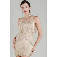 Beige Fringe Dress