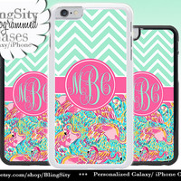 Monogram Flamingos iPhone 5C 6 Case Plus Chevrons Custom iPhone 5s 4 case Ipod Cover Aqua Mint Pink Personalized
