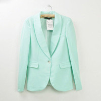 Basic Candy OL Mint Green Coral Light Pink Yellow Slim Suit Jacket Blazer S M L