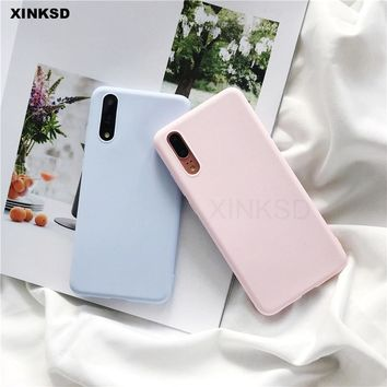 Candy Color Silicone Phone Case On Honor 7C 7A Pro 7X 6C 9 8 lite Play Note 10 Cases for huawei Y5 Y6 Y7 Prime Y9 2018 Cover T20