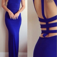 Blue Cut Out Sleeveless Bodycon Maxi Dress