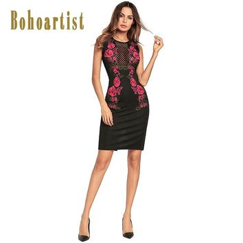Bohoartist Women Bodycons Lace Sexy Hollow Out Party O-Neck Floral Dresses Sleeveless Zipper Black Sheath Bodycons Dress 2018