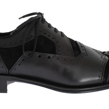 Dolce & Gabbana Black Leather Derby Wingtip Shoes