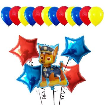 17pcs Paw Patrol heart Cartoon Dog Foil Balloons Handheld Globos Birthday Party Decor Kids Toys Chase Marshall Sky Ryder Baloon