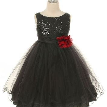 Sequin & Tulle Girls Dress with Flower
