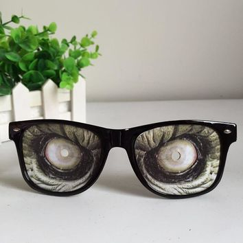 Zombie mask Glasses Frame For Women Men April Fools' Day Halloween Party Spoof Joke Terror Eyeglasses Horror Funny Spectacles H5