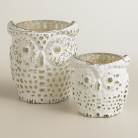 Whitewash Mercury Glass Owl Tealight Candleholders - World Market